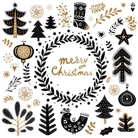 Ilustración de Christmas vector collection with Christmas symbols and elements - Imagen libre de derechos