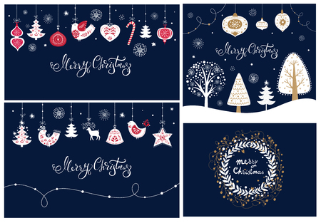 Illustration pour Set of Christmas banners and cards - image libre de droit