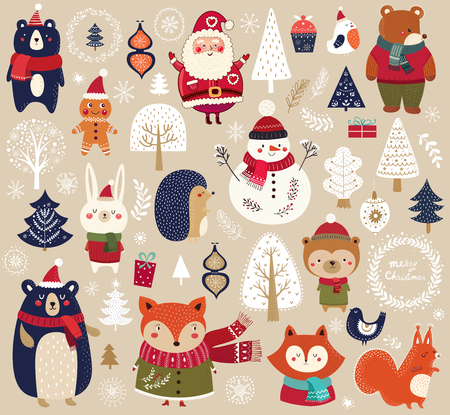 Christmas collection with cute animals, Santa Claus, Snowman and decorative elements.
