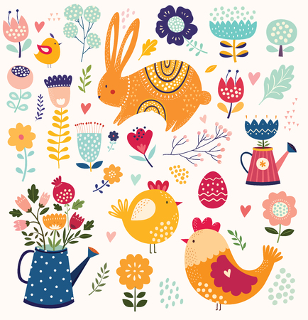 Illustration pour Collection of spring Easter elements with Rabbit, chic and flowers. - image libre de droit