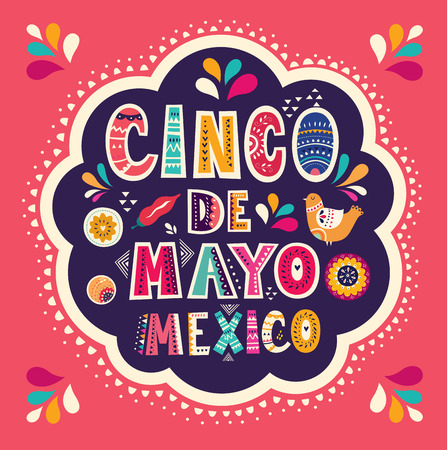 Illustration pour Beautiful vector illustration with design for Mexican holiday 5 may Cinco De Mayo - image libre de droit