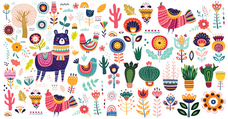 Ilustración de Big vector collection with cute llama, cacti and flowers. - Imagen libre de derechos