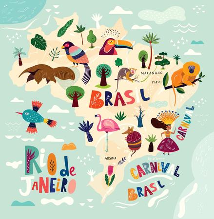 Illustration pour Vector map of Brazil. Brazilian symbols and icons. - image libre de droit