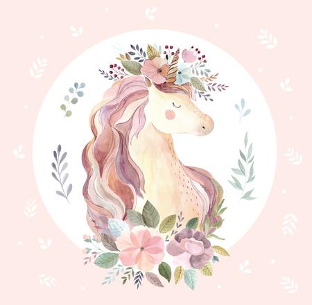 Illustration for Vintage illustration with cute unicorn - Royalty Free Image