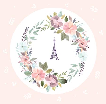 Illustration pour Vector hand drawn illustration with Eiffel tower and floral wreath - image libre de droit