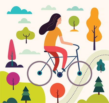 Illustration pour Girl on the bicycle - image libre de droit