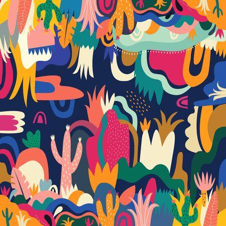 Illustration pour Abstract colorful tropical vector pattern - image libre de droit