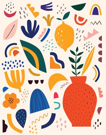 Illustration pour Cute spring pattern with fruits and abstract elements. Decorative abstract illustration with colorful doodles. Hand-drawn modern illustration with flowers, abstract elements - image libre de droit
