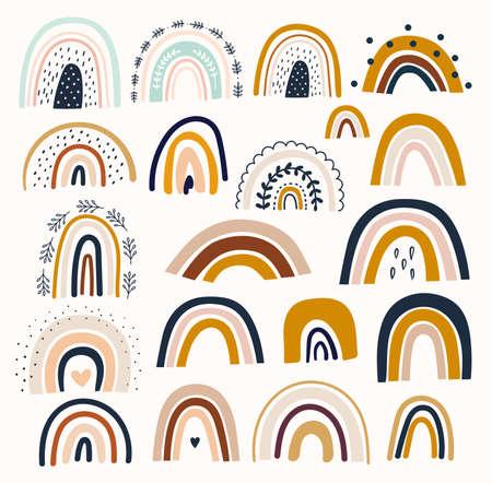 Illustration pour Pastel stylish trendy rainbows vector illustrations - image libre de droit
