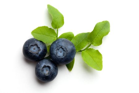 Blueberries on white isolated background