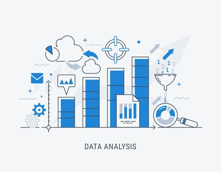 Illustration pour Modern thin line design for analysis website banner. Vector illustration concept for business analysis, market research, product testing, data analysis. - image libre de droit