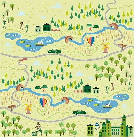 Illustration pour Cartoon map - image libre de droit