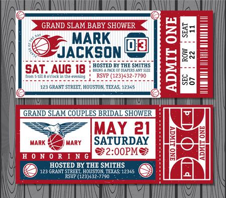 Set of vintage basketball tickets. Vectr illustration.