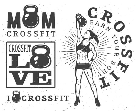 Set of monochrome fitness emblems, labels, badges, and designed elements.