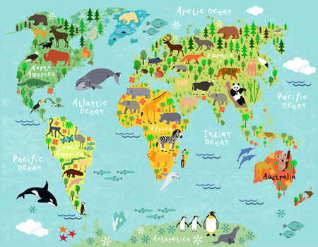 Illustration pour Animal map of the world for children and kids - image libre de droit
