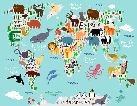 Photo pour Animal map of the world for children and kids - image libre de droit