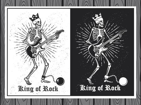 Illustration pour Illustration of human skeleton with guitar. King of Rock. Skeleton guitar player. - image libre de droit