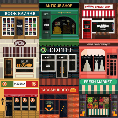 Illustration pour Set of vector detailed flat design cafe, restaurants and shops facade icons. - image libre de droit