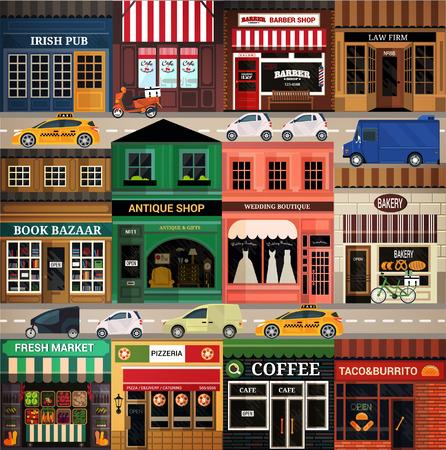 Illustration for Central street. Set of elements for construction of urban and village landscapes. Vector flat illustration - Royalty Free Image