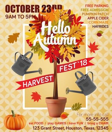 Autumn harvest festival. Fall leaf. Vector illustration EPS 10