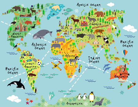 Ilustración de Cartoon world map with landscape and animal. Vector illustration. - Imagen libre de derechos