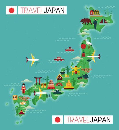 Ilustración de Japan landmark and travel map. Flat design elements and icons. vector illustration - Imagen libre de derechos