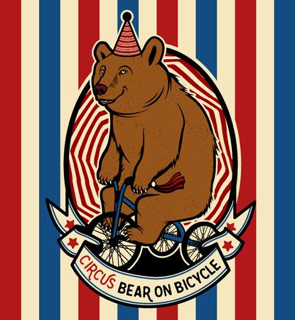 Ilustración de The Circus Bear on Bicycle. Vector illustration. - Imagen libre de derechos