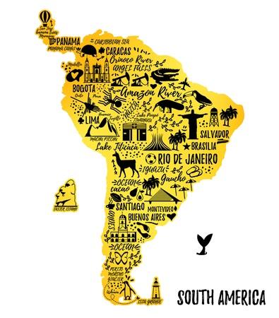 Illustration pour Typography poster. South America map. South America travel guide. - image libre de droit
