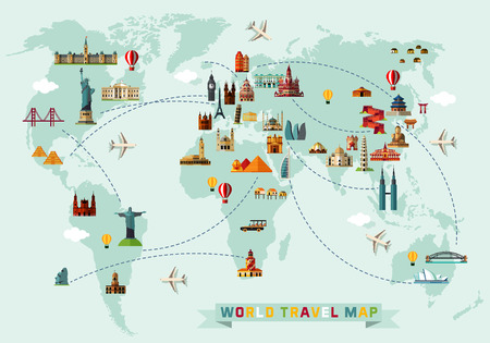 Ilustración de Map of the World and Travel Icons. - Imagen libre de derechos
