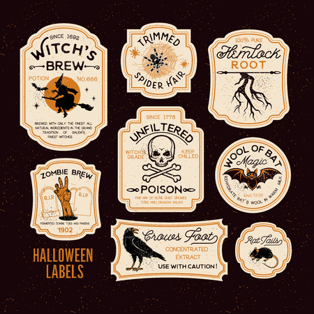 Illustration for Set of Halloween Bottle Labels. - Royalty Free Image