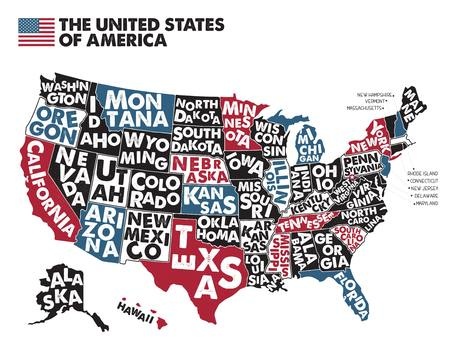 Illustration for Poster map of United States of America with state names. - Royalty Free Image