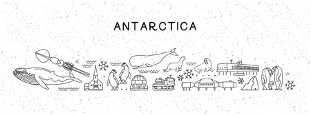 World Travel Line Icons Antarctica Map. Travel Poster with animals and sightseeing attractions.
