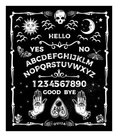 Foto für Board with the skull. Occultism Set. Vector Illustration. - Lizenzfreies Bild