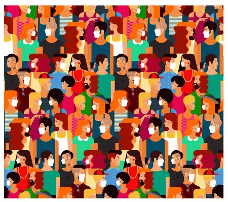 Illustration for Crowd of people with medical masks. Vector Illustration. - Royalty Free Image