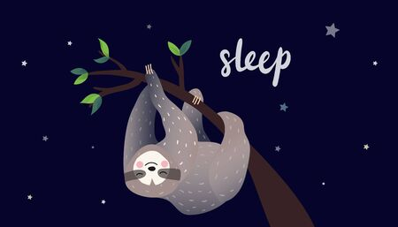 Illustration for Cute lazy sloth sleeping on a branch of the tropical tree. - Royalty Free Image