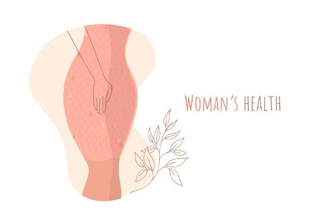 Illustration pour Beautiful female body and womens hygiene and health concept. Menopause, Urinary incontinence, - image libre de droit