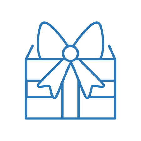 Ilustración de Abstract gift box isolated icon with cute ribbon - Imagen libre de derechos