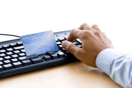 man is shopping and paying online