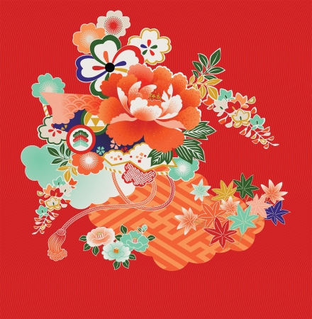 Floral montage from vintage Japanese kimono designs.