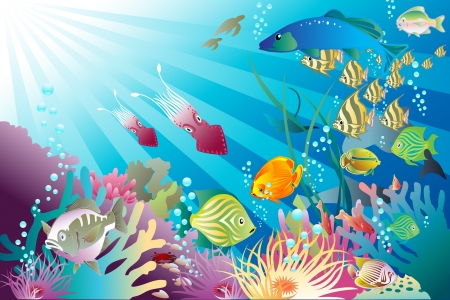 Illustration pour Fish and other life forms frolic Under the Sea - image libre de droit
