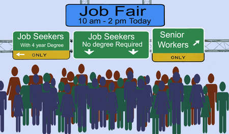 Photo pour Street signs advertising job fair for different types of employees - image libre de droit