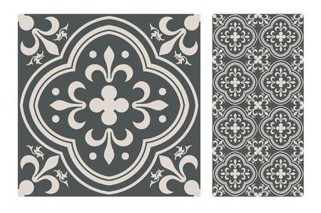 Illustration pour Vintage tile seamless pattern design  illustration - image libre de droit