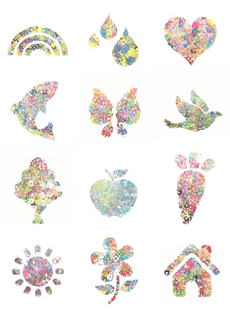Handprint painting collection, with mulit colores and shapes.
