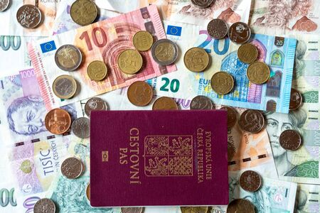 Photo pour coins and banknotes czech currency and euro with passport, czk czech - image libre de droit