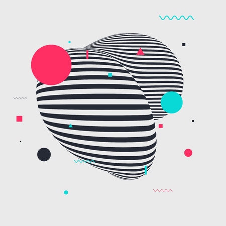 Illustration pour Memphis style geometric pattern with different geometric forms. Vector illustration with striped figure and abstract geometric elements. - image libre de droit