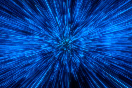 Photo for Speed of light in space on dark background. Abstract background in blue, yellow and orange neon colors. 3D rendering. - Royalty Free Image
