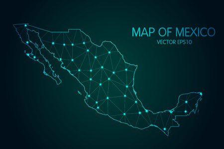 Illustration pour Map of Mexico. With glowing point and lines scales on the dark gradient background - image libre de droit