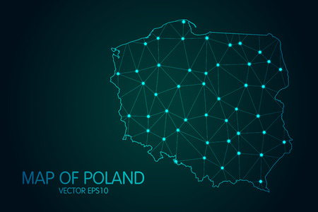 Map of Poland - With glowing point and lines scales on The