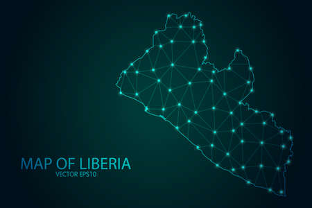 Illustration pour Map of Liberia - With glowing point and lines scales on The Dark Gradient Background, 3D mesh polygonal network connections. Vector illustration  . - image libre de droit