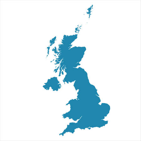 Illustration for Abstract - High Detailed blue Map of United Kingdom isolated on white background. for your web site design map logo, app, ui, Travel. Vector illustration - Royalty Free Image